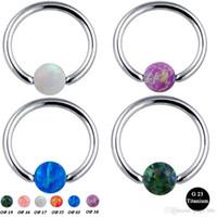 Wholesale body jewelry titanium lip piercing resale online - 1pc G23 Titanium Septum Piercing Nose Ring Opal Ball Closure Nipple Lip Tragus Eyebrow Earring Nose Rings Body Jewelry