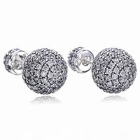 Wholesale crystal balls for pandora resale online - Real Sterling Silver Natural Crystal ball Earrings fit Pandora style Silver Jewelry for Women Diamond disco Beads Stud Earring