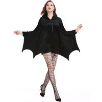 Wholesale batman dress women resale online - Halloween Female Cosplay Vampire Bat Costume Sexy Women Adult Cosplay Black Jumpsuit Connect Wings Batman Dress and Socks Toys