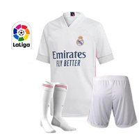 Wholesale real madrid home socks resale online - 2020 REAL MADRID soccer jersey HAZARD SERGIO RAMOS BENZEMA VINICIUS Home camiseta football shirt uniforms adult kids kit socks