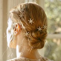 Wholesale rhinestone star hair clips resale online - Stonefans Design Star Moon Rhinestone Wedding Bridal Hairpins for Women Bling Barrette Crystal Hair Clips Accessory Hair Jewelry