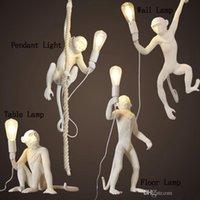 Wholesale seletti resale online - Modern White Black Monkey Hemp Rope Pendant Light Fashion Simple Art Nordic Resin Seletti Hanging Monkey Lamp