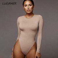 Women's Jumpsuits & Rompers Luomaer Sexy Skinny Solid Long Sleeve Bodysuit Women Bodys Top Autumn Winter Female Elegant O Neck Slim White Bl