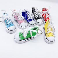 Wholesale 3d shoes keychains resale online - 3D Pu Canvas Shoes Jogging Shoes Fashion Shoes Fabric Boots Keychain Pendant Bag Pendant Keychain Car Pedant Decoration