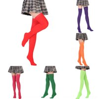 Wholesale performance socks for sale - Group buy sBJUt Fluorescent yellow solid color over the knee socks dance performance stockings cosplay socks high sockssilk stockings high makeup stock