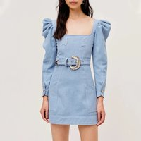 Wholesale puff sleeve dress for sale - Group buy Australian trendy catwalk style palace style square neck puff sleeve belt dress