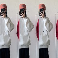 Wholesale korean sweater fashion boys resale online - Men s Plush trendy sweater boys loose solid color top bottoming shirt Korean fashion brand ins Top Sweatert shirt sweaterlong sleeve T shirt