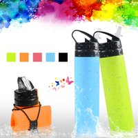 Wholesale stretched bottle resale online - 600ml Outdoor Portabel Outdoor Silicone Folding Drinking Water Bag Stretching Kettle For Hiking Camping Bottle Jxw245