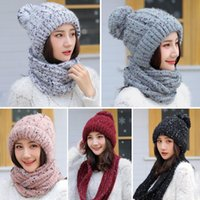 Wholesale loop yarns for sale - Group buy Knitted Cap Korean Style Women Autumn Winter Warm Woolen Yarn Knitted Circle Loop Scarf Cap Casual Soft Thick Hat ColorsX1023