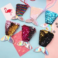 Wholesale cute designer bags resale online - Tow tone sequin mermaid bag for kids gift coin purse single shoulder bag change purse cute fish tail shaped messenger bag EEC2877