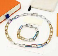 Wholesale signature hardware resale online - Europe America Style Jewelry Sets Men Gold Silver and Rainbow colour Hardware Signature Chain Necklace Bracelet Sets M80177 M80178