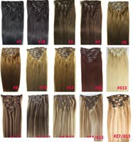 Wholesale zzhair for sale - Group buy ZZHAIR quot quot Brazilian Remy Human hair Clips in on Human Hair Extension set Full Head g g g