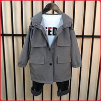 Wholesale fashion teen jackets resale online - Spring Fall Baby Long Section Jacket T Boys Outdoor Clothes Teen Children Single breasted Windbreaker Kids Fashion Coat Y200919