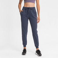 L-96 Classic Jogger Workout Pants Drawcord Elastic Waist with Pocket Sweat-wicking for Yoga Running Fitness Dancing Leisure Women Trousers