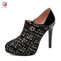 Wholesale elegant platform boots for sale - Group buy Original Intention New Stylish Black Elegant Ankle Boots Woman Thin HIgh Heels Platform Grace Spring Short Boots Female
