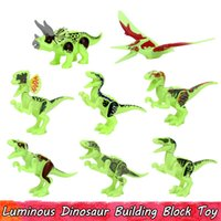 Wholesale glowing dinosaur toy resale online - Luminous Dinosaur Toys for Children Glow in the Dark Building Blocks Educational Toy Gift Home Decoration Party Favors