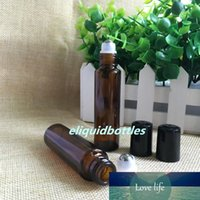 Wholesale 15 ml essential oil bottles resale online - 600pcs High Quality ml Amber Glass Bottles ml Glass Roll On Bottles With Glass Stainless Steel Roller Black Lids For Essential Oil