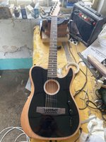 Wholesale acoustic electric guitar black for sale - Group buy Custom Shop Acoustasonic Tele Sonic Satin Black Acoustic Electric Guitar Polyester Satin Matte Finish Spurce Top Dot Inlay Chorme Hardwa