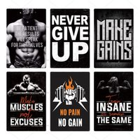 2021 Funny Gym Shop Wall Tin Sign Metal Poster Plaque Never Give Up Metal Work Out Wall Decor for Man Cave Gym Tin Sign Decorative Plate