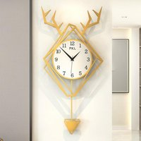 Discount plastic swings Luxury Modern Wall Clock Deer Art Simple Creative Swing Silent Wall Clock Pendulum Relojes Pared Nordic Living Room Decor MM60WC