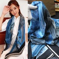 Wholesale silk scarf large square for sale - Group buy Real Pure Silk Scarf women Bandana Gift Hand Curled Plain Crepe Satin Large Square Scarf Shawl Doodle Ocean