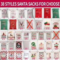 Canvas Christmas Sants Bag Large Drawstring Candy Claus Bags Xmas Gift Santa Sacks For Festival Decoration