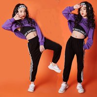 Wholesale kids clothings for sale - Group buy Girls clothings Clothes year Long Sleeve jazz dance costumes for kids hip hop hoodie top costume kids GirlsX1019