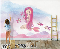 Wholesale kids mermaid decor for sale - Group buy custom photo mural on the wall d wallpaper Cartoon mermaid kids room home decor d wall muals wall paper for walls d in rolls