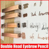 Wholesale double pens resale online - 4 Colors Double Ended Eyebrow Pencil Eyebrow Enhancer Enhancers Makeup Skinny Brow Liner with brush eye brow Pen tool