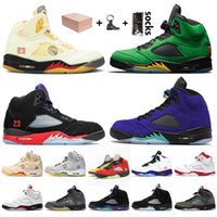 ingrosso jordan 5-Con scatola nike air jordan 5 retro 5s off white jumpman 5 Scarpe da basket da uomo Rosso fuoco Oregon Ducks Alternate Grape Sneakers da ginnastica