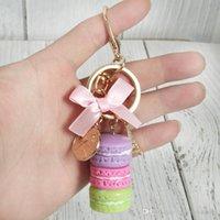 Wholesale macarons keychain for sale - Group buy Creative Macarons Cake Keychain Laduree Effiel Tower Ribbon Key Chain Ring Women Handbag Bag Charm Fashion Trinket Wholeasle