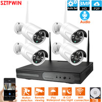 4CH 3.0MPAudio CCTV System Wireless 1080P NVR 4PCS 3.0MP IR Outdoor P2P Wifi IP CCTV Security Camera System Surveillance Kit builtin 1TB HDD