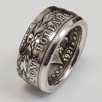 Wholesale antique wedding bands men resale online - Vintage Fashion Letter Pattern Rings For Men Antique Silver Color Ring Male Wedding Band Engagement Jewelry Punk Men s Ring
