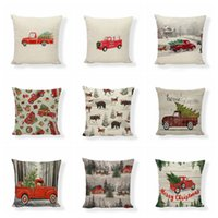 Wholesale couch pillow resale online - Pillowcase Xmas Red Car Printing Pillow Covers Christmas Tree Throw Pillow Case Sofa Couch Cushion Cover Christmas Decoration EWC3013