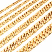 Wholesale 18 solid gold necklace for sale - Group buy Tisnium mm Gold Color Cuban Men s Necklace Punk Hip hop Style Solid Stainless Steel Hip hop Jewelry inch