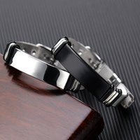 Wholesale stainless steel watch bracelet for mens resale online - adjustable Watch bracelets mens stainless steel fashion black charm chains bracelets punk chain on hand gifts for men