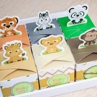 Wholesale safari animals for sale - Group buy 12PCS Baby Shower Favors Safari Animal Wild Favor Box Candy Box Souvenir Boy Girl Kids Event Party Supplies