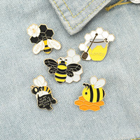 honeys bees 2021 - Cartoon Cute Honey Bee Enamel Pins Colors Sweet Brooches For Kids Gift Lapel Pins Clothes Bags