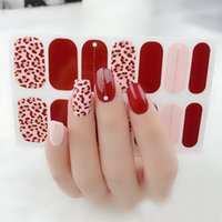 Wholesale salon decals resale online - 2020 Red Full Wraps Shiny Nail Art Sticker Decals Multicolor Nail Stickers Strips DIY Salon Manicure