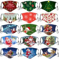 Wholesale halloween face mask resale online - Merry Christmas face mask kids Santa Claus Gift Snowflake Child Print Cartoon designer face mask Breathable Dustproof PM2 adult facemask