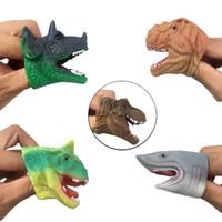 Wholesale toy sharks resale online - Mini TPR Dinosaur Finger Cot Shark Tyrannosaurus Animal Doll Spoof Prank Toys Children Kids Adult Toy