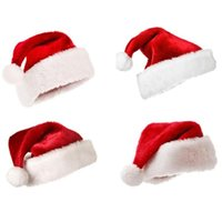Wholesale boy caps white resale online - Plush Red Velvet Santa Hat with White Cuffs Party Caps For Boys Girls Children Adult Christmas Gifts Caps Soft Hats Hair Accessories FWB2475