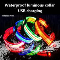Wholesale waterproof nylon dog collar resale online - Dog Collar LED Light Adjustable Nylon Waterproof Collar Luminous Safety Flashing Glowing For Pet Dog Products Accessories