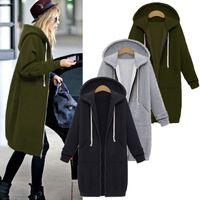 winter Autumn and women's mid long hooded long sleeve sweater women's winter coat