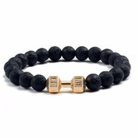 Wholesale dumbbell beads for sale - Group buy Hot Natural Black Volcanic Lava Stone Dumbbell Bracelet Black Matte Beads Bracelets For Women Men Fitness Barbell Jewelry Gifts wmtBNq