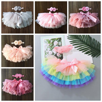 Baby Girls Skirts Infant Girl Tutu Skirt Headband 2pcs Sets Newborn Tulle Bow Bloomers Rainbow Short Dresses Diapers Cover 11 Colors DW6347