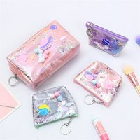 Wholesale keys for kids resale online - TPU cosmetic bags Mermaid Sequins Coin Pocket Change Bag Wallet Square Stereo Zipper Purse Key Chain Gift for Kids DHL