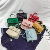 детские модные мини-сумки оптовых-Fashion Mini Cute Small Bow Girl's Messenger Bag Mini Brand Designer Tote Bag Children Shoulder Crossbody PU Kid's Handbag