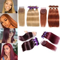 Wholesale ombre hair prices resale online - Quality Brazilian Virgin Hair Bundles with Closures Straight Hair Color j bug Ombre Human Hair Bundles with Closure Best Price