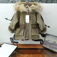 Wholesale desigual resale online - Designer Kids Hooded coat winter children faux fur hooded long sleeve casual outwear Kids Letter embroidered thicken warm windbreaker A4695